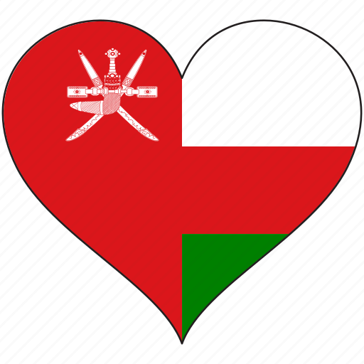 flag, heart, national, oman icon