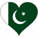 flag, heart, pakistan, country