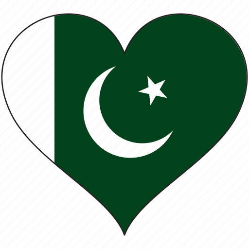 country, flag, heart, pakistan icon