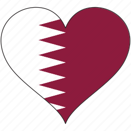 flag, heart, national, qatar icon