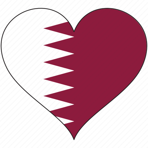 Flag, heart, qatar, national icon - Download on Iconfinder