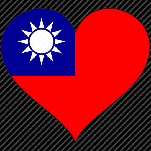 flag, flags, heart, taiwan icon