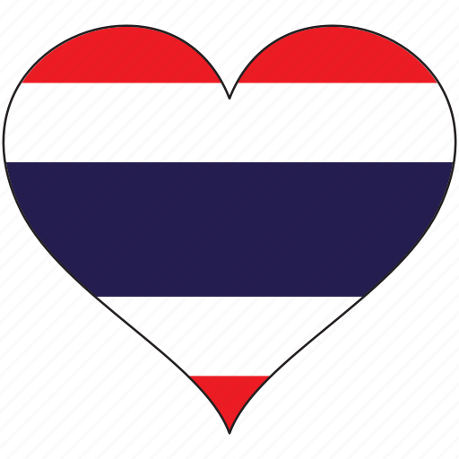 flag, heart, national, thailand icon