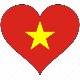 country, flag, heart, vietnam icon