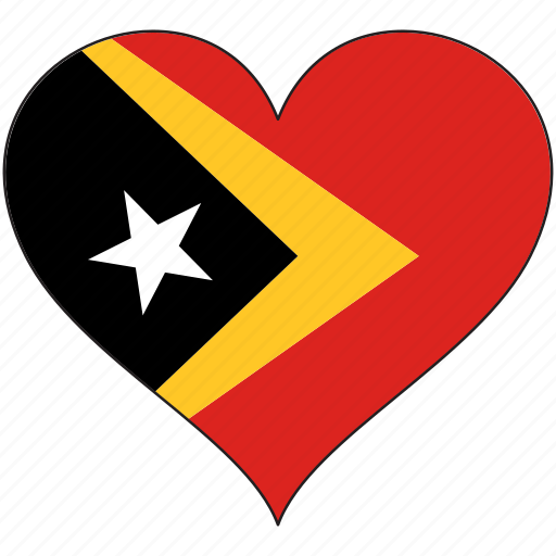 east timor, flag, heart, national icon