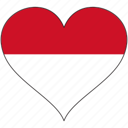 flag, heart, indonesia, national icon