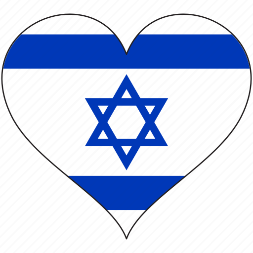 flag, heart, israel, national icon