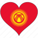 flag, heart, kyrgyzstan, country