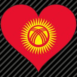 country, flag, heart, kyrgyzstan icon