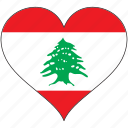 flag, heart, lebanon, country