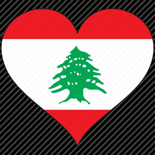 country, flag, heart, lebanon icon