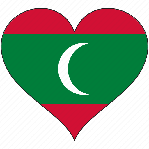 country, flag, heart, maldives icon