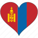 country, flag, heart, mongolia icon