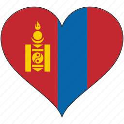 country, flag, heart, mongolia icon