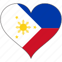 flag, heart, philippines, national