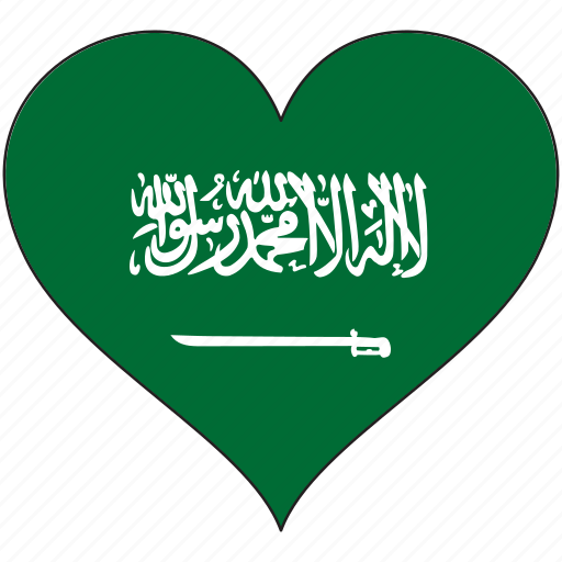 country, flag, heart, saudi arabia icon