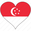 flag, heart, singapore, country