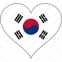flag, heart, south korea, country