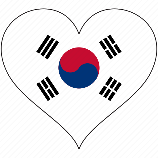 country, flag, heart, south korea icon