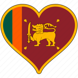 country, flag, heart, srilanka icon