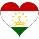 flag, heart, tajikistan, country