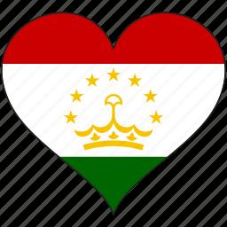 country, flag, heart, tajikistan icon