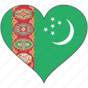 flag, heart, turkmenistan, country