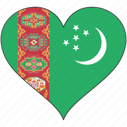 country, flag, heart, turkmenistan icon