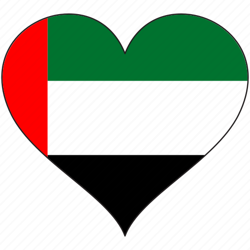 country, flag, heart, uae icon