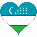 flag, heart, national, uzbekistan icon