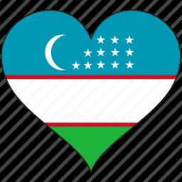 flag, heart, national, uzbekistan icon