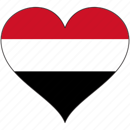 country, flag, heart, yemen icon