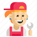 asia, avatar, job, mechanic, profession, woman, work