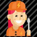 asia, avatar, electrician, job, profession, woman, work icon