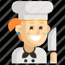 asia, avatar, chef, job, profession, woman, work icon
