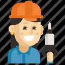 asia, avatar, job, miner, profession, woman, work icon