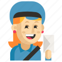 asia, avatar, job, postman, profession, woman, work