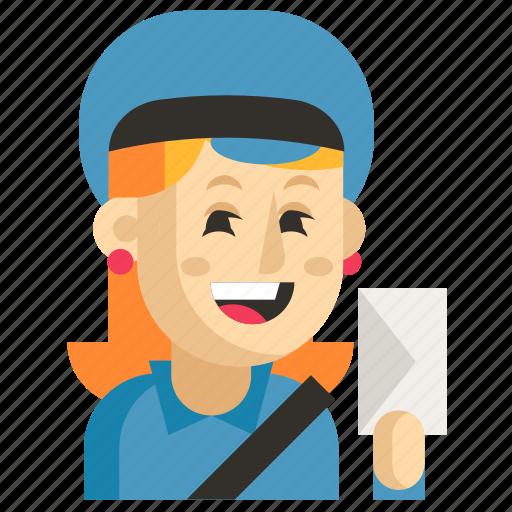 Asia, avatar, job, postman, profession, woman, work icon - Download on Iconfinder