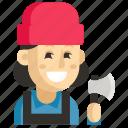 asia, avatar, job, lumberjack, profession, woman, work