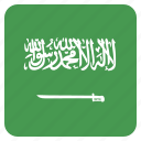 arabia, circle, flag, saudi icon