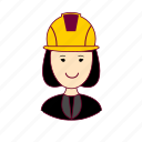 asian woman professions, emprego, engenheira, engineer, job, mulher, professions, ruiva, trabalho, work icon