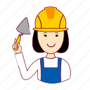 asian woman professions, assistente de obra, emprego, job, mason, mulher, pedreira, professions, trabalho, work icon