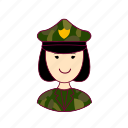 asian woman professions, emprego, exército, job, militar, military, mulher, professions, trabalho, work icon