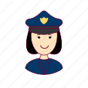 asian woman professions, emprego, job, mulher, police officer, policial, professions, trabalho, work icon