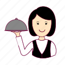 .svg, asian woman professions, emprego, garçonete, job, mulher, professions, trabalho, waitress, work icon