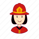 asian woman professions, bombeira, emprego, fire, firefighter, fogo, job, mulher, professions, trabalho, work icon