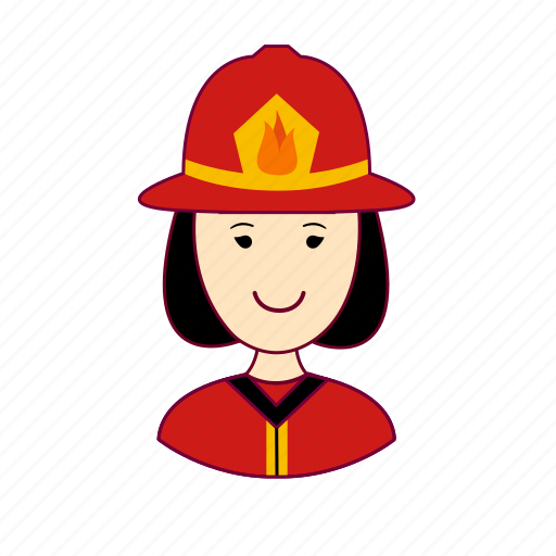 Asian woman professions, bombeira, emprego, fire, firefighter, fogo, job icon - Download on Iconfinder