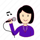 .svg, asian woman professions, cantora, emprego, job, mulher, professions, singer, trabalho, work icon