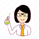 asian woman professions, cientista, ciência, emprego, job, mulher, professions, science, scientist, trabalho, work icon