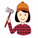 .svg, asian woman professions, emprego, job, lenhadora, mulher, professions, trabalho, woodcutter, work icon